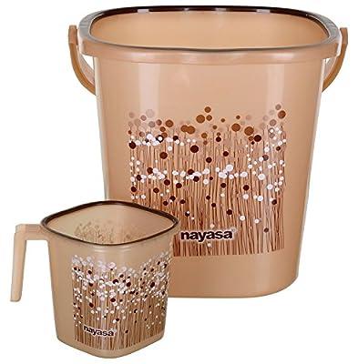 Nayasa Plastic Bathroom Bucket and Mug Set (25 L, Brown, 2-Pieces),aarohi13