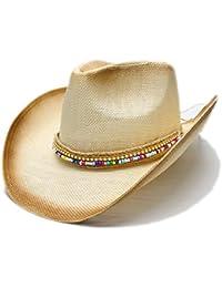 Shishanyun Sombrero de Vaquero del Jazz de la Paja de Las Mujeres Sombrero  Occidental del Vaquero 9b2cd5356d9