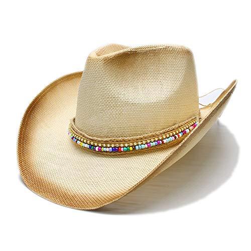XXY Western Cowboyhut für Damen mit handgefertigtem Weave Lady Sombrero Hombre Cowgirl Jazz (Farbe : Natürlich, Größe : 58 cm)