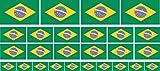 Mini Fahnen / Flaggen Set glatt - 4x 51x31mm+ 12x 33x20mm + 10x 20x12mm- selbstklebender Aufkleber - Brasilien - Sticker fürs Büro, Schule und zu Hause - Set of 26