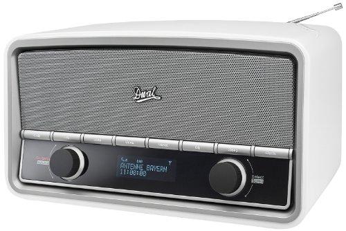 Dual NR 5 DAB Digitalradio mit Bluetooth (DAB+/UKW-Tuner, Sendersuchlauf & -speicherung, Audiostreaming, Weckfunktion, Uhrzeit, Kopfhöreranschluss, AUX-IN, Fernbedienung) weiß