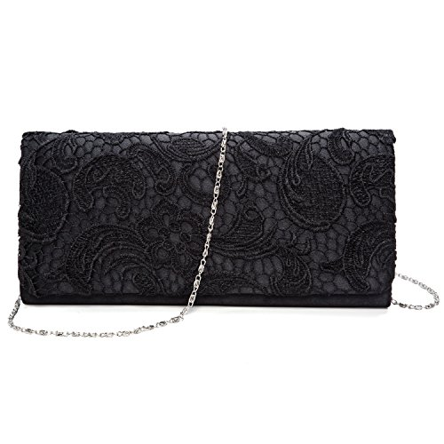 Kisschic borse donna borse eleganti borsette da sera per pochette cerimonia(nera)