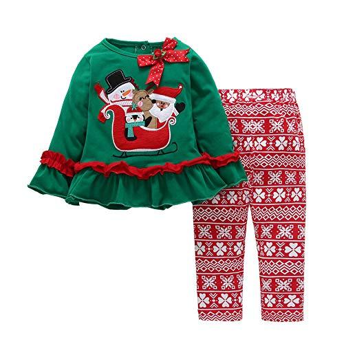 (bauycy Pullover Kinder Jungen und Mädchen langärmeligen Weihnachten Cartoon Trompete Ärmel gekräuselten Tops + Hosen Zweiteilige Anzug Weihnachtsfeier Kleid täglichen Casual Shirt)