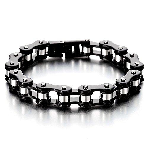 masculin-noir-argent-deux-tons-bracelet-en-acier-inoxydable-pour-homme-bracelet-chaine-de-velo-moto