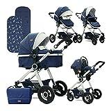 Passeggino combinazione passeggino Lorelli Alexa 3 in 1 ruote in gomma con seduta per neonato con pedaliera per seggiolino