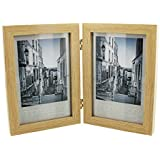 """Double Natural Wood Design 4"""" x 6"""" Photo Frame Gift New Boxed"""
