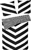 PRIMERA Renforcé Wende-Bettwäsche Schwarz-Weiß Diagonalstreifen 135x200 + 80x80 cm
