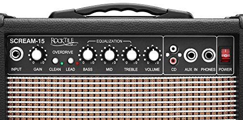 Rocktile Scream 15 - Amplificatore Mini Combo, portatile, 15 W, 2 canali, ingresso AUX per MP3/CD, equalizzatore triband, ingresso cuffia