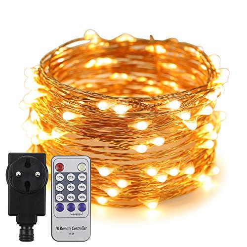 Erchen Strom-betrieben LED Lichterkette, 33 FT 100