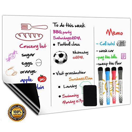 Kids Tag-planer Für (Magnetisches Whiteboard Kühlschrank Magnettafel A3+ für Magnetic Fridge Wöchentliche Einkaufsliste,Menü Memo Erinnerung Täglich Notiz Planer,Kinder Graffiti Trocken abwischbar Flexible Magnet White Board Enthält 4 Marker und 1 Radierer)