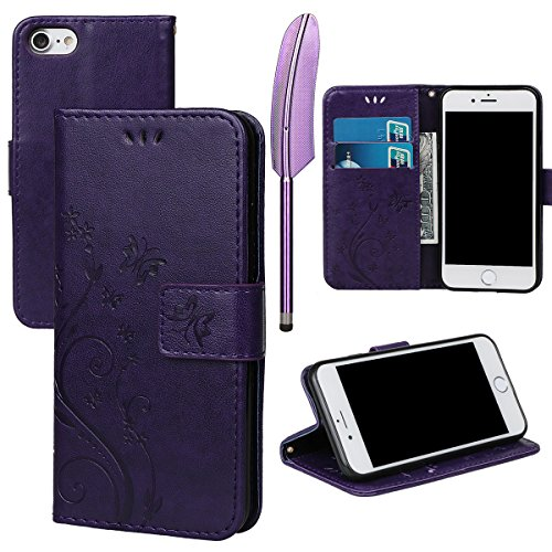 """Hülle für iPhone 7/8, xhorizon Blumenschmetterling magnetische umklappbare Brieftasche Schutzhülle mit Standfunktion und Kartensteckplätzen aus geprägtem PU-Leder für iPhone 7 / iPhone 8[4.7""""] Dunkel Lila + Stylus + Staubstecker"""