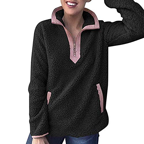 TianWlio Mäntel Frauen Weihnachten Damen Mantel Langarm Strickjacke Jacke Outwear Herbst Winter Stehkragen Reißverschluss Flauschiges Oberstes Sweatshirt Damen Kapuzen Pullover Jumper