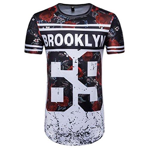 Camisetas, Ba Zha Hei Número 69 de Verano Casual Camisas De...