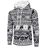 MAYOGO Hoodies Herren Weihnachten Printe Kapuze Pullover Herbst Winter Men's Grau Sweatshirts mit Kapuzen Kapuzenpullover Hoodie