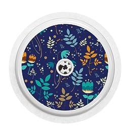 Adesivo in vinile per sensore Freestyle Libre, motivo floreale, colore: cobalto