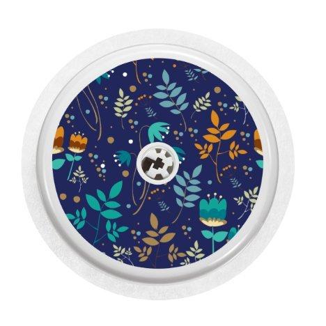 Vinyl-Aufkleber für Freestyle Libre-Blutzuckermessgerät, Blumen-Motiv: Cobalt Floral