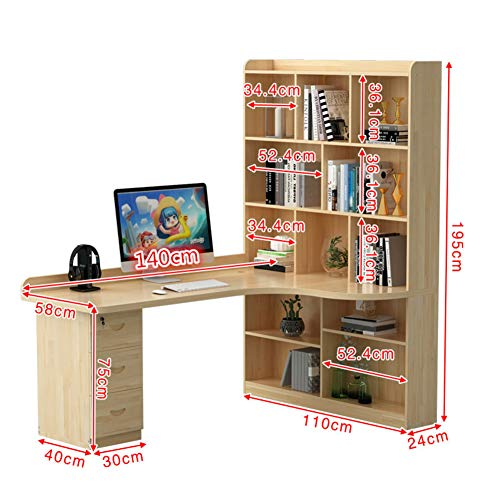 JiaQi L Förmige- Home Office Ecke Computertisch Mit Schublade,massivholz Desk,Moderne Studio Desk Mit Mainframe Shelf Und Bookshelves-s 140x58x195cm(55x23x77inch) -