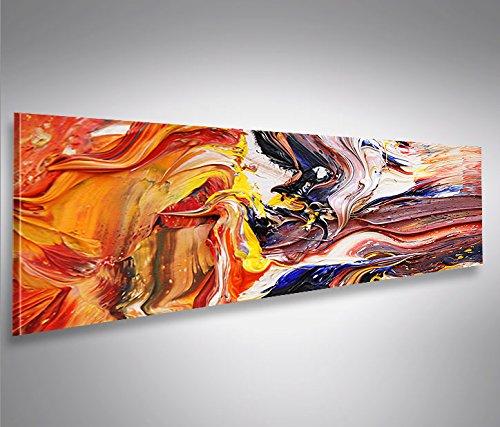 Bild Bilder auf Leinwand Farbe Struktur Gemälde-Style Abstrakt Panorama XXL Poster Leinwandbild Wandbild Dekoartikel Wohnzimmer Marke islandburner Poster Abstrakte Gemälde