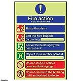 """VSafety, 12028AN-G, cartello multilingue con misure in caso di incendio con scritta """"If you discover a fire"""" in plastica, formato ritratto, 150 mm x 200 mm, nero, blu, rosso e verde (lingua italiana non garantita)"""