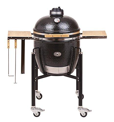 Monolith Barbecue classique Noir avecsupport et table d'appoint