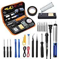 URCERI Soldering Iron Kit 15s Fast Heating 26-in-1 Soldering Welding Tools 60W Adjustable Temperature with 6 Solder Tips/Screwdiver/Desoldering Pump/Wire Stripper Cutter/2 Anti-Static Tweezers, etc