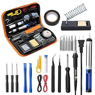 Soldering Iron Kit, 26pcs Set, 60W Adjustable Temperature Welding Tool with 6 Solder Tips, Screwdiver, Desoldering Pump, Wire Stripper Cutter, 2 Anti-Static Tweezers, 2 Electronic Wires, etc