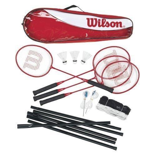 Wilson 4-Spieler Badmintonschläger mit Netz, Pfosten und Bällen