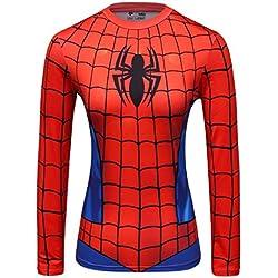 Cody Lundin Digital Impreso Manga Larga Camiseta Apretada Delgado Ropa Interior de la Mujer araña héroe Insignia t-Shirt (L, Red)
