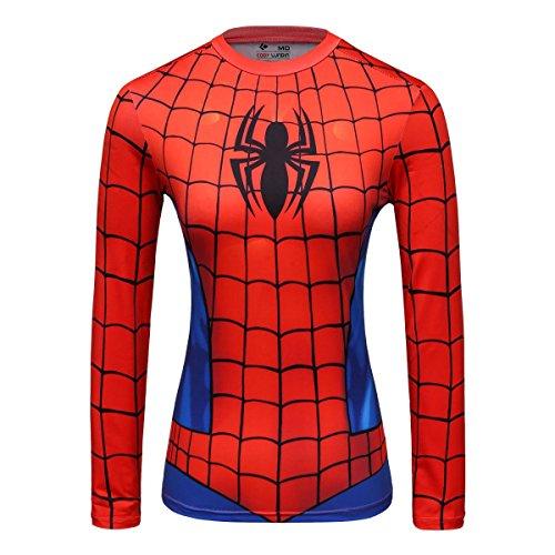 inne gedrucktes Logo Shirt weibliche funktionelle Outdoor-Style Party Sport Langarm (M, Spinne B) (Weibliche Superhelden)
