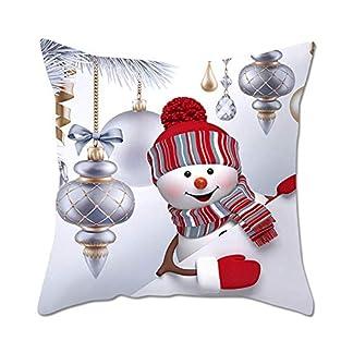 LuMon Funda de Cojín, Feliz Navidad Almohada Cubierta, Feliz Navidad Decorativo Fundas Almohada, 45x45cm Muñeco de Nieve Decorativo para Navidad Fiesta Coche Café Oficina – B