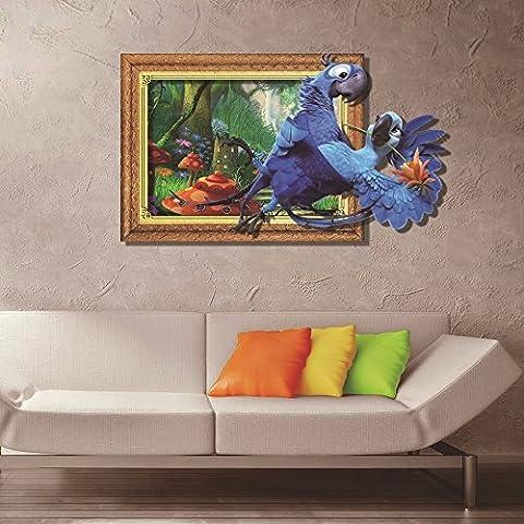 Cartoon dekorative Malerei Schlafzimmer Wohnzimmer Fernseher Sofa Hintergrund HD-Dimensionalen 3D Wall Sticker Wallpaper (Papagei), 100 x 58 (Hd Weihnachten Wallpaper)