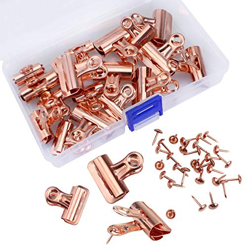 Meetory 20 Stück Bulldogge Clips mit 30 Stück Push Pins Push Pins Clip Kreative Papier Deko Clips mit Pins für Korktafel und Fotowand ohne Löcher für das Papier (Rosegold)