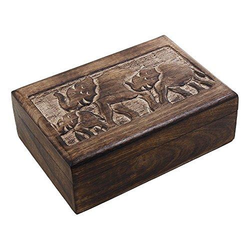 Mango de madera de almacenaje de la joyer?a Cajas organizadores talladas mano...