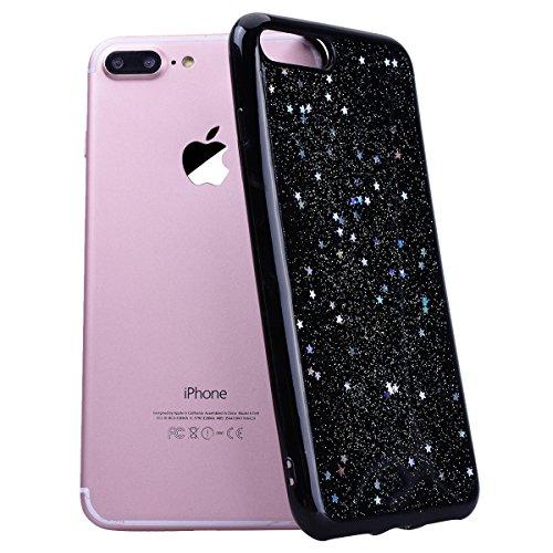 Custodia iPhone 7 Plus, Cover iPhone 8 Plus Rosa CE-Link Brillantini Glitters Stelle di Bling Silicone Custodia 8 Plus Morbido Chiaro Cristallo Ultra Sottile Elastica e Morbida Morbido Placcatura TPU  Argento