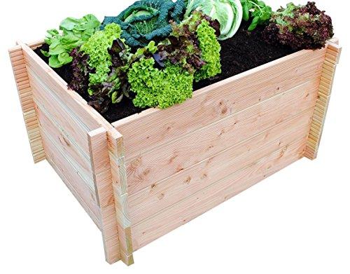 GrünerGarten Premium Bio-Hochbeet aus Blockbohlen