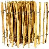 Kastanienzaun Staketenzaun aus Haselnuss in 26 Größen Höhen 50 cm - 150 cm Länge 5 / 10 Meter Zaun mit gut gespaltenen Stäben und sicheren Spitzen (Höhe: 60cm X Länge: 1000cm, Lattenabstand: 7-8 cm)