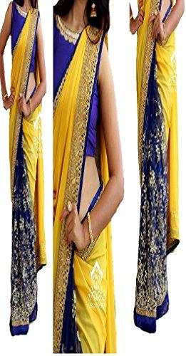 Sunshine Fashion Yellow Color Georgette , Naylon Mono Net Fabric Thread Fancy...