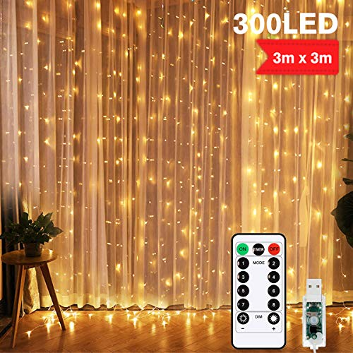 LEDLichtervorhang LED Lichterkette Vorhang USB Schlafzimmer Vorhang Lichtert Weihnachten 300 LEDs Fenster Vorhänge für Hochzeiten, Partys Garten Schlafzimmer Dekoration Weiß 3m x 3m