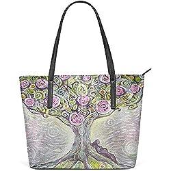 G.H.Y Peinture à l'huile Arbre de Vie Rose Floral PU Cuir épaule Tote Bag Sac à Main pour Les Femmes Filles