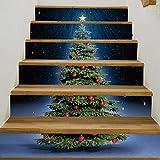 Treppenaufkleber Weihnachten Verkleiden Sich Kreative Treppe Aufkleber Weihnachtsbaum Pvc Wandaufkleber 18CM*100CM*6 Stück