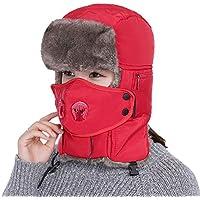 Zxcvb Máscara de Sombrero de Invierno Cuello Cuello Lei Feng Sombrero Hombres Engrosamiento Cuello retráctil Sombra antivaho Sombrero Exterior (Color : Rojo, tamaño : One Size)
