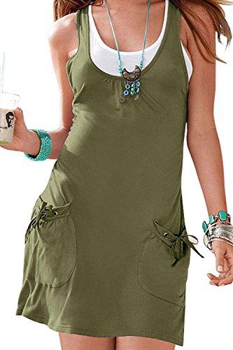 Frauen Im Sommer Zwei Pocket - T - Shirt - Mini - Stift - Kleid Armygreen