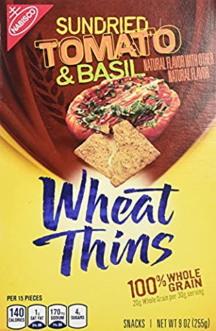 Nabisco, Wheat Thins, Sun Dried Tomato & Basil Crackers, 9oz Box (Pack of 3)