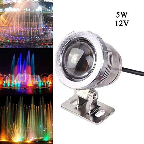 5W DC12V RGB Luz de luz impermeable Fuente de la piscina de la lámpara del paisaje con la tina del controlador Parte de florero Base de la boda de Navidad Decoración del acuario (Plata)