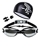 Meliya Swimming Goggles with Case Large Men Women Electroplating Swim Goggles No Leaking Waterproof Anti-Fog UV Protection (A-Black)