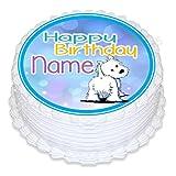 ND4Westie Terrier Hund Geburtstag print4you Personalisierter Runder Tortenaufsatz, ca. 19,1cm (oder kleiner auf Wunsch), auf Zuckerguss