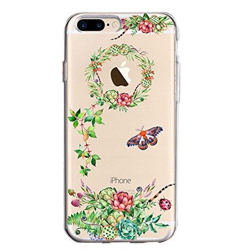Housse iPhone 7 Plus / iPhone 8 Plus TPU Coque Case, Sunroyal Ultra mince Ultra léger TPU 3D Pignons de Pin Guirlande Pattern Design de avec Clear Colorful Motif Rouge et Vert Fleurs Arbre de fées Bum Motif 10