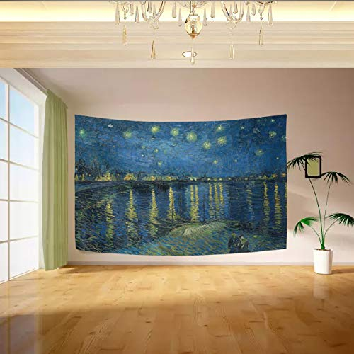 Vipsa Van Gogh Starry Night Over The Rhone Tapestry Wall Hanging Artistic Light-Weight Polyester Fabric Cottage Dorm Wall Art Home Decoration 90x60 inches Painting Wall Decoration -