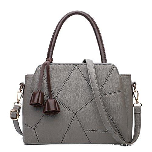 ZPFME Womens Tote Handtasche Herbst Und Winter Umhängetasche Mode Umhängetasche Einfach Shopper Leder Party Damen Tasche Gray