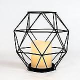 batteriebetriebene weiße Echtwachs LED Kerze in minimalistisch zeitlos eleganter 20cm hoher Metall Laterne – in mattschwarz - von Festive Lights